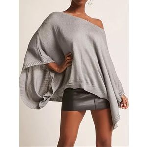 KIRA RAE Knit Poncho Top - GREY
